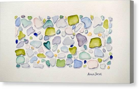 Sea Glass Hearts Canvas Print