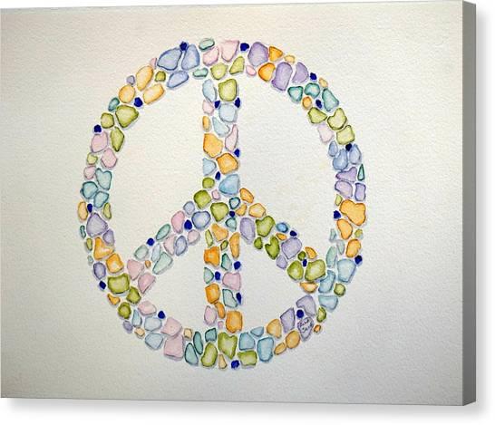 Sea Glass Peace Symbol Canvas Print