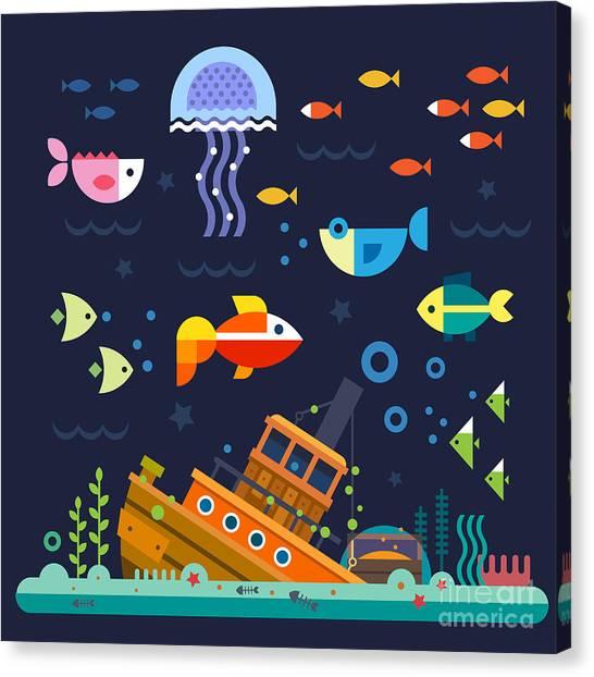Sprite Canvas Print - Sea Life. Underwater World. Fish by Beresnev