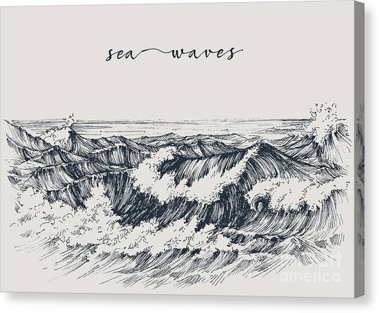 Tides Canvas Print - Sea Or Ocean Waves Drawing. Sea View by Danussa
