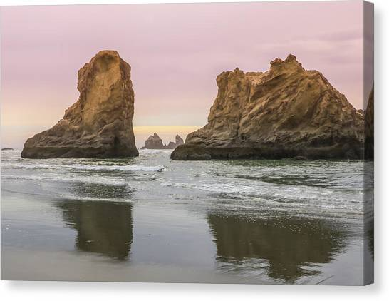 Canvas Print featuring the photograph Sea Stack And Spires Sunset 1, Bandon Beach, Oregon by Dawn Richards