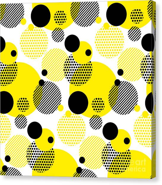Background Canvas Print - Seamless Dots Modern Pattern. White by Galyna p