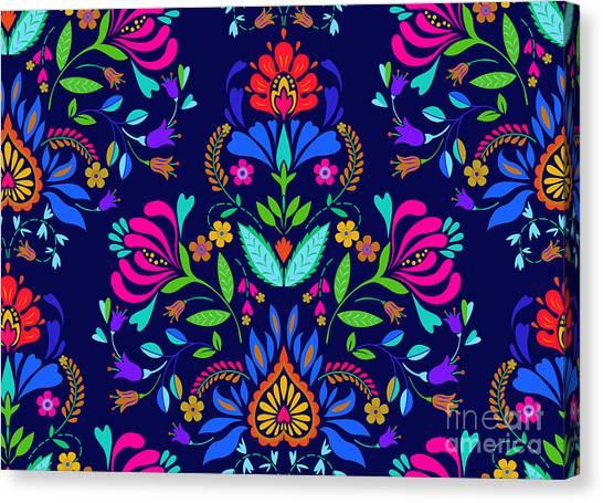 Cutout Canvas Print - Seamless Floral Folk Pattern. Slavic by Rosapompelmo