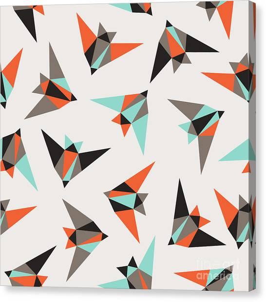 Grey Background Canvas Print - Seamless Geometric Pattern. Flying Birds by Graphiteska