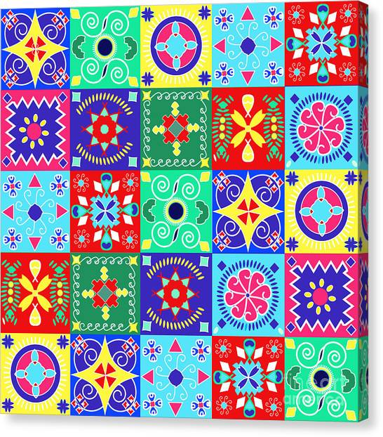 Imagery Canvas Print - Seamless Pattern  Holiday Cheerful by Fotinia
