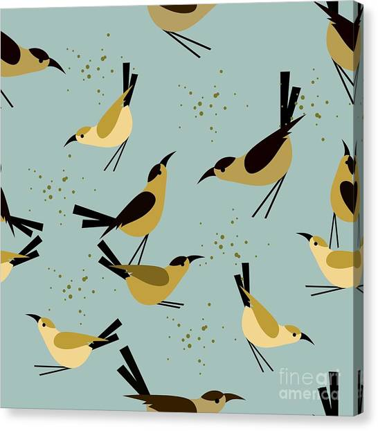 Colorful Bird Canvas Print - Seamless Pattern Little Birds On A by Marrishuanna