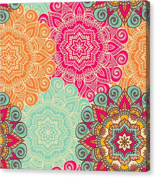 Meditate Canvas Print - Seamless Pattern. Vintage Decorative by Visnezh
