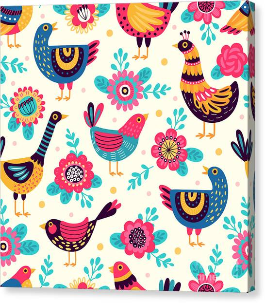 Ok Canvas Print - Seamless Pattern With Birds And by Xenia ok