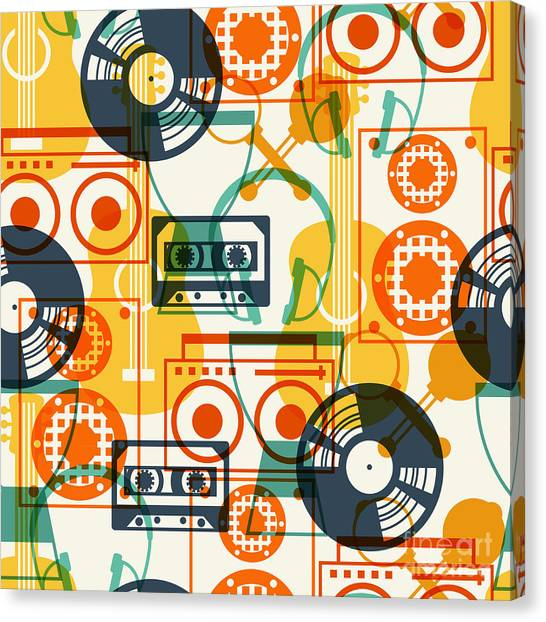 Media Canvas Print - Seamless Pattern With Musical by Incomible