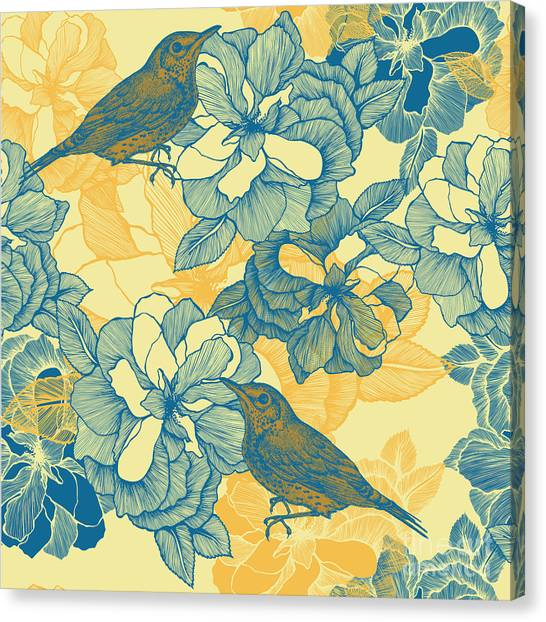 Grey Background Canvas Print - Seamless Pattern With Roses And Bird by Mur34