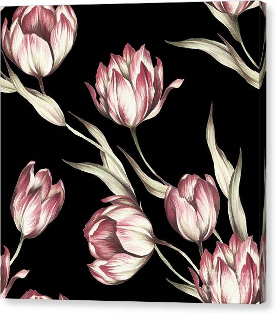 Wedding Bouquet Canvas Print - Seamless Pattern With Tulips by Adelveys