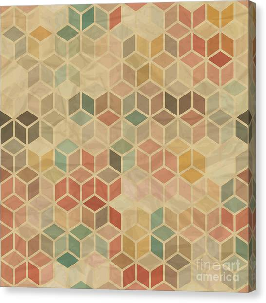 Seamless Retro Geometric Pattern Canvas Print by Incomible