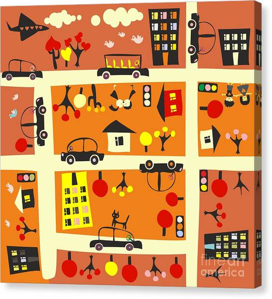 Block Canvas Print - Seamless Street In Autumn by Anastasiia Kucherenko