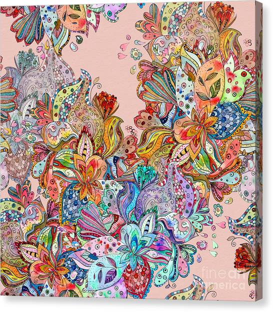 Decoration Canvas Print - Seamless Texture With Colorful Crazy by Oksana Alekseeva
