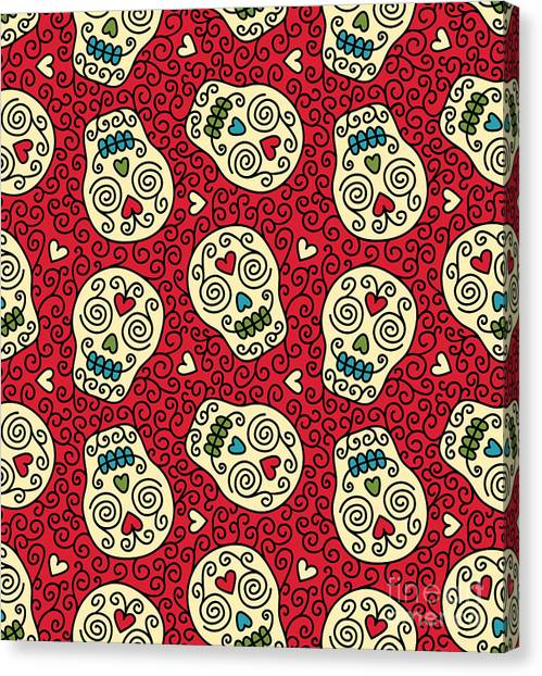 Seamless With Mexican Skulls Canvas Print by Rvvlada