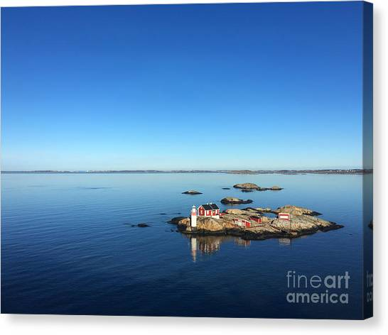 Cliffs Canvas Print - Seascape Of A Swedish Fjord With Little by Adiekoetter