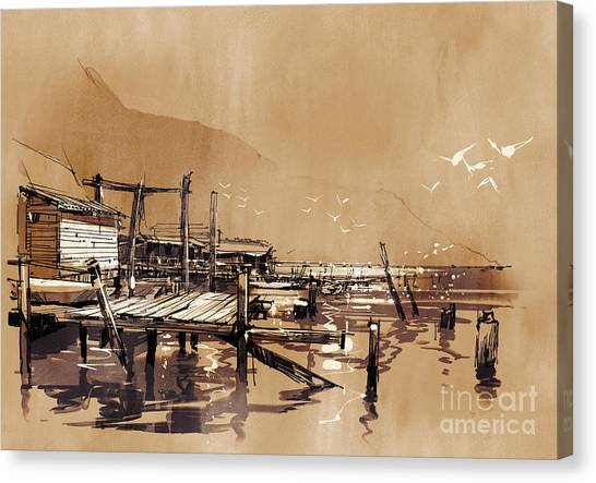 Acrylic Canvas Print - Seascape Painting Showing Pier Of by Tithi Luadthong