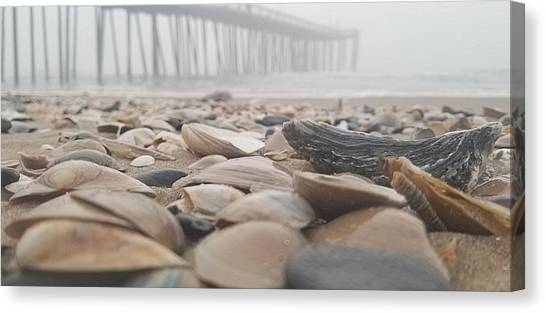 Canvas Print featuring the photograph Seashells At The Pier by Robert Banach