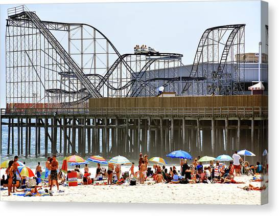 Seaside Heights Star Jet Roller Coaster Color 2006 Canvas Print by John Rizzuto