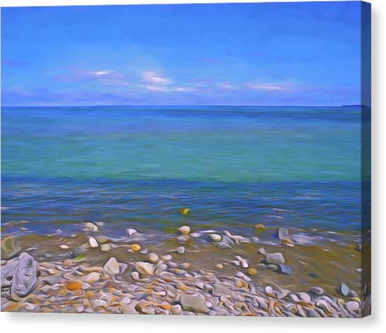Canvas Print featuring the mixed media Season Of Blue Water 4  by Lynda Lehmann