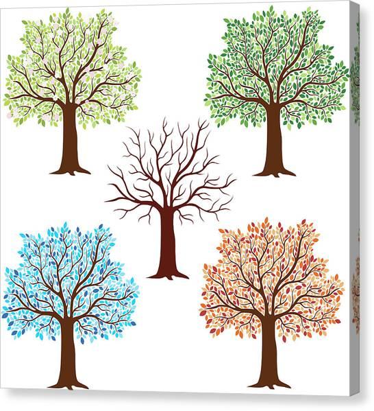 Seasonal Trees Canvas Print by Flyinggiraffestudio