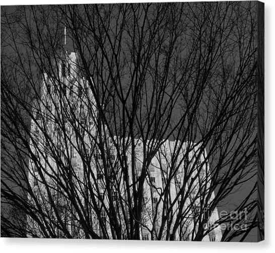 Canvas Print featuring the photograph Seasonal View Bw by Patrick M Lynch