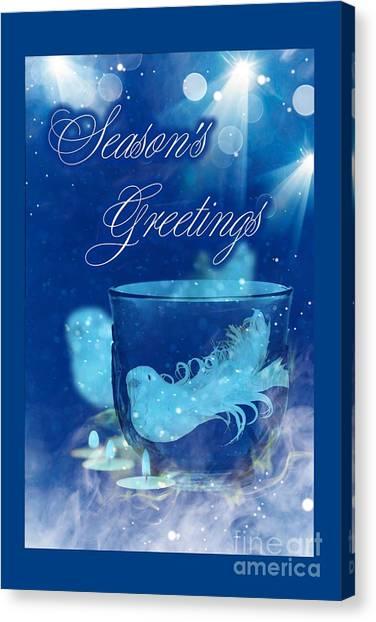 Canvas Print featuring the mixed media Season's Greetings Blue With Bird by Rachel Hannah