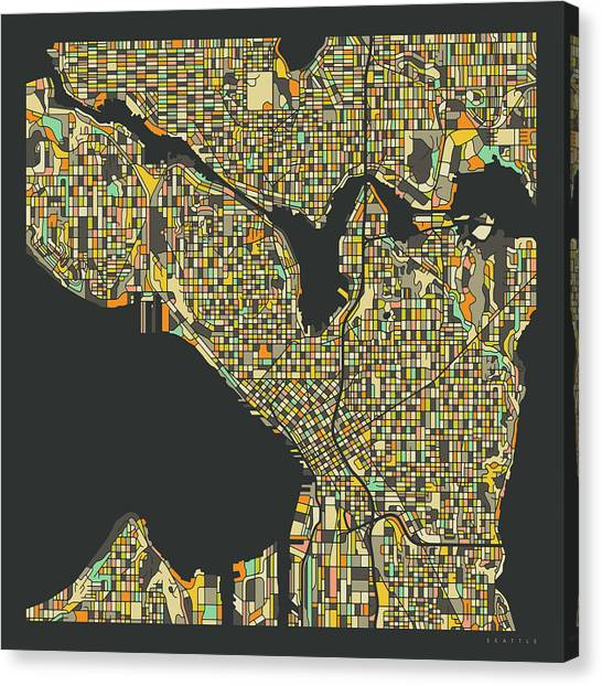 Seattle Canvas Print - Seattle Map 2 by Jazzberry Blue