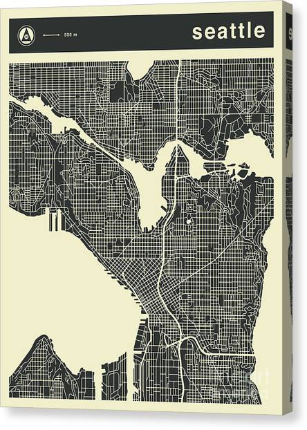 Seattle Canvas Print - Seattle Map 3 by Jazzberry Blue