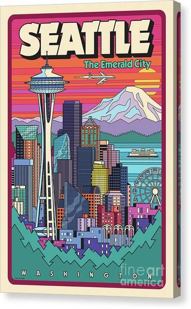 Space Needle Canvas Print - Seattle Poster - Pop Art Skyline by Jim Zahniser