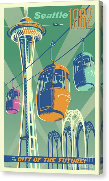 Retro Canvas Print - Seattle Poster- Space Needle Vintage Style by Jim Zahniser