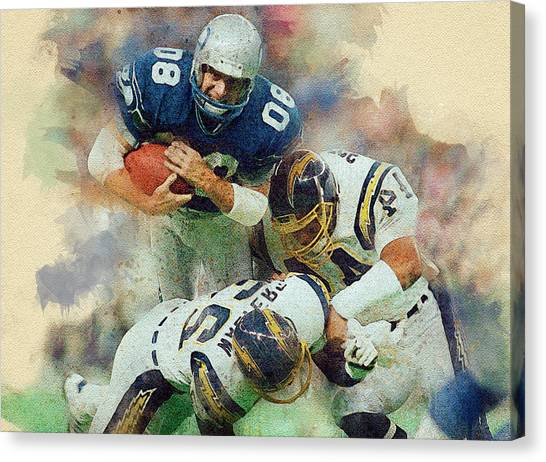 Los Angeles Chargers Canvas Print - Seattle Seahawks Against Los Angeles Chargers by Anna J Davis