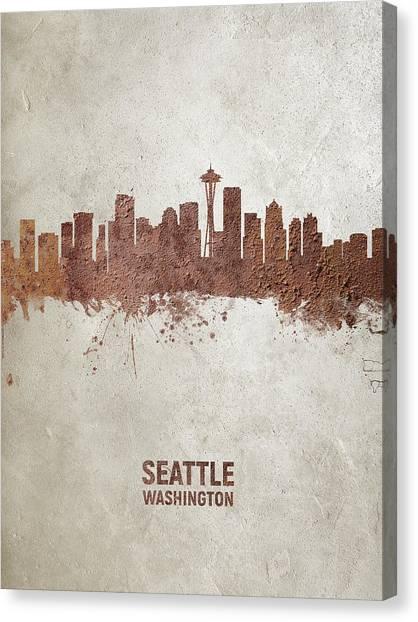 Seattle Skyline Canvas Print - Seattle Washington Rust Skyline by Michael Tompsett
