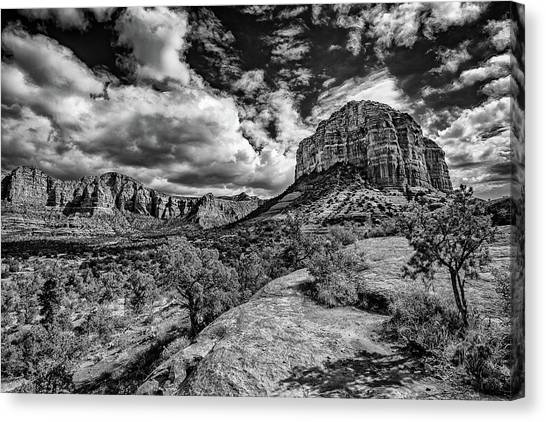 Sedona Landscape B And W Canvas Print