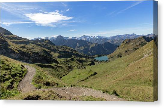 Canvas Print featuring the photograph Seealpsee, Allgaeu Alps by Andreas Levi