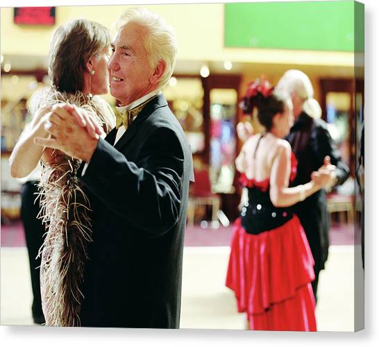 Senior And Mature Couples Dancing Canvas Print