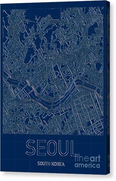 Seoul Blueprint City Map Canvas Print