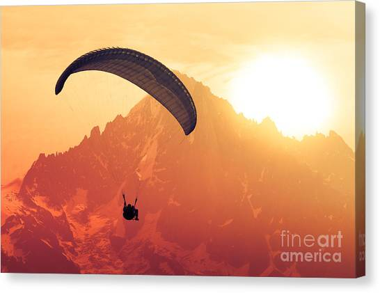 Horizontal Canvas Print - Sepia Paraglide Silhouette Over Alps by Pavel Burchenko