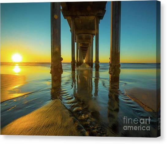 Scripps Pier Canvas Print - Serenity In San Diego Sunset 2 by Edward Fielding