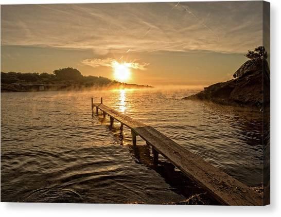Sespanyol Beach In Ibiza At Sunrise, Balearic Islands Canvas Print