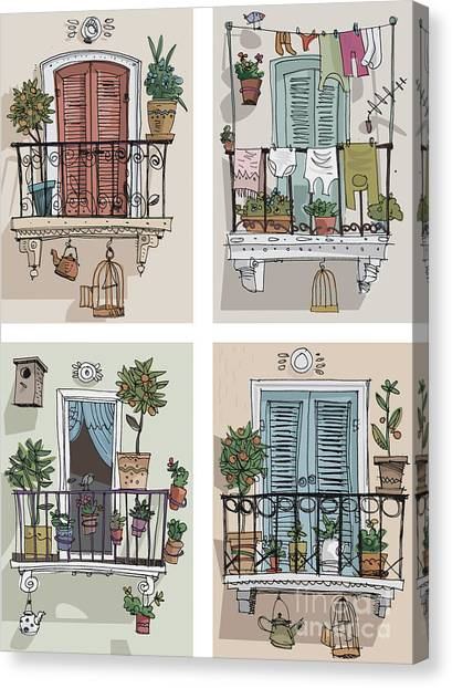 Set Of Cute Balcony - Cartoon Canvas Print by Iralu