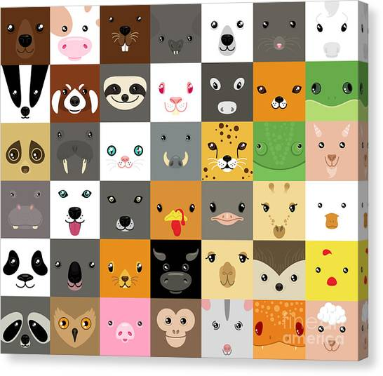 Set Of Cute Simple Animal Faces Canvas Print by Olesia Misty