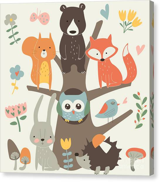 Woodland Canvas Print - Set Of Forest Animals In Cartoon Style by Kaliaha Volha