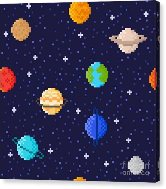 Science Education Canvas Print - Set Of Solar System Planets Mercury by Maria Zvonkova