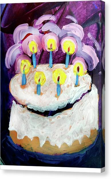 Seven Candle Birthday Cake Canvas Print