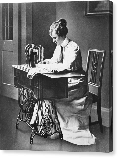 Sewing Machine Canvas Print by Hulton Archive
