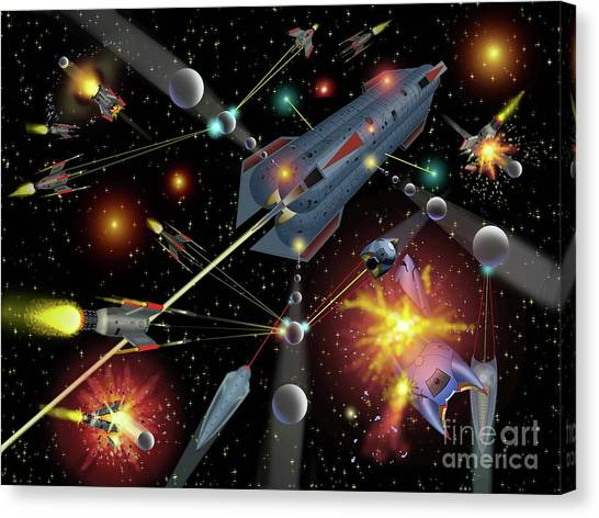 Sferogyls Space Battle Group Canvas Print