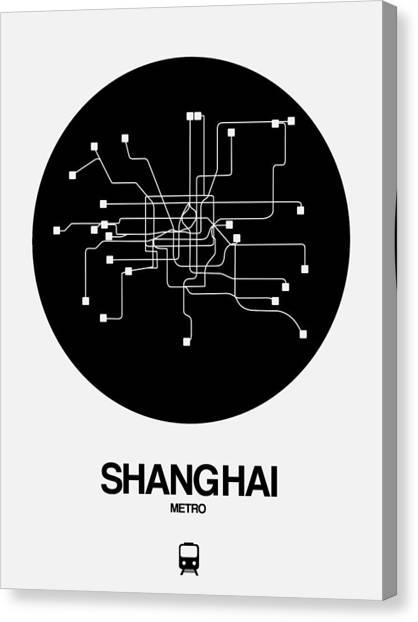 China Town Canvas Print - Shanghai Black Subway Map by Naxart Studio