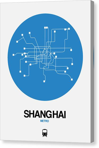 China Town Canvas Print - Shanghai Blue Subway Map by Naxart Studio