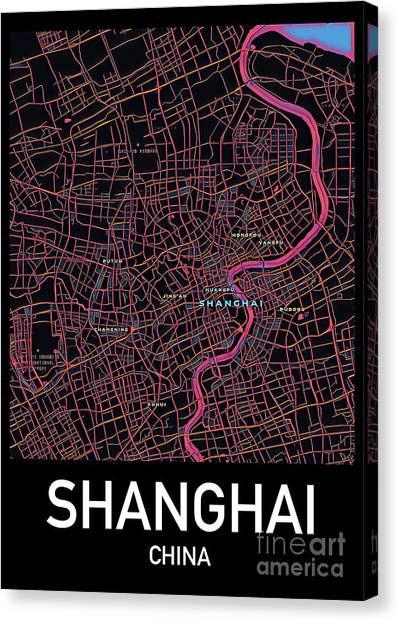 Shanghai City Map Canvas Print
